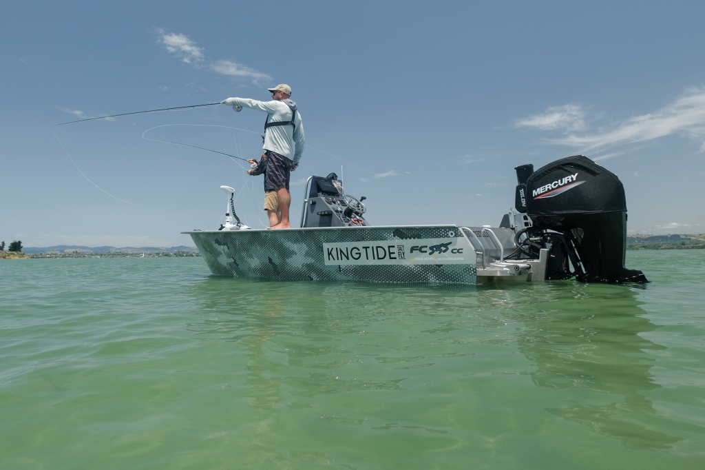 Searching for Ray Riding kingfish on the saltwater flats of New Zealand.