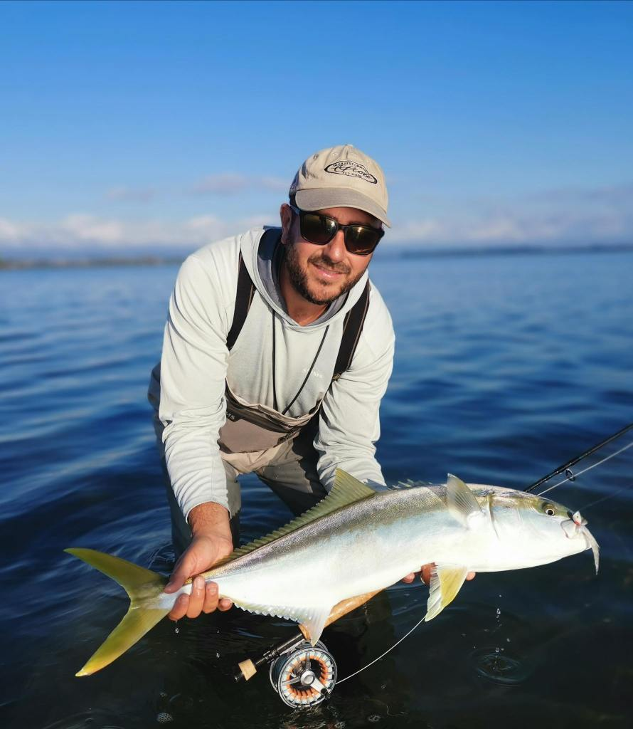 Luca Allen and a nice Tauranga kingfish on fly